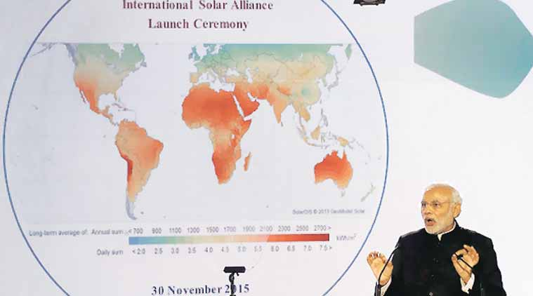 Prime Minister Narendra Modi speaks at the launch of the International Solar Alliance in Paris on November 30. (Source: Reuters)