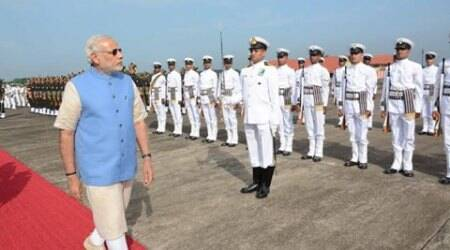 PM Narendra Modi addresses combined commanders' conference on board INS Vikramaditya