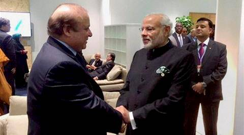 Paris: Prime Minister Narendra Modi shakes hands with his Pakistani counterpart Nawaz Sharif in Paris on the sidelines of CoP 21 summit on climate change on Monday. PTI Photo / Twitter (PTI11_30_2015_000141B)