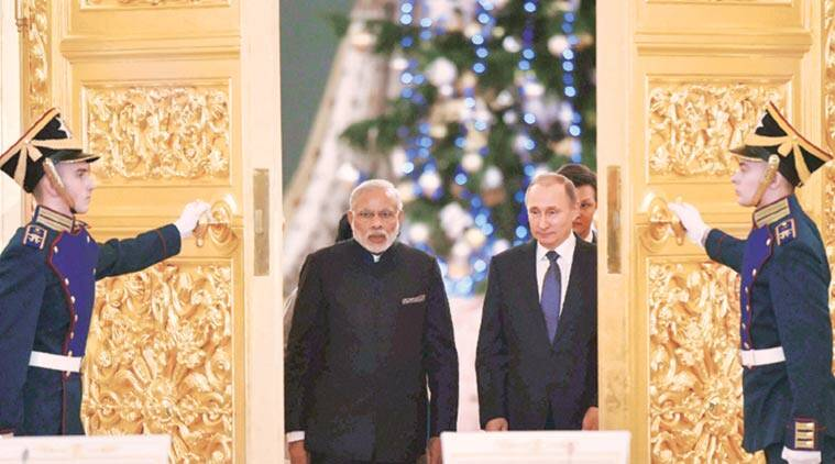 Prime Minister Narendra Modi with Russian President Vladimir Putin in Moscow on Thursday. (Source: PTI)