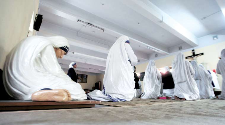 A prayer session in progress at Mother House, in Kolkata on Saturday. (Express Photo by Subham Dutta)