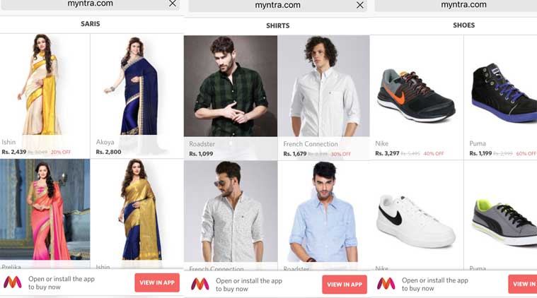4236dc1c5 App-only not working  Myntra mobile website returns after Flipkart ...