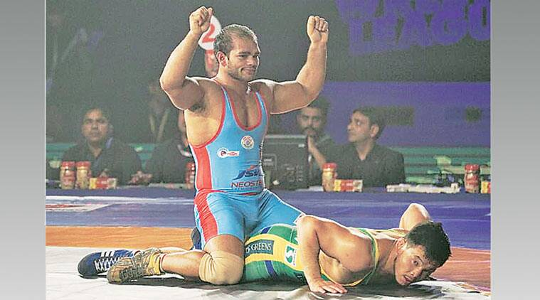 pwl, pro wrestling league, pro wrestling league 2015, 2015 pro wrestling league, Sushil Kumar India, India Sushil Kumar, sushil kumar, narsinh yadav, purvejav, wrestling, sports
