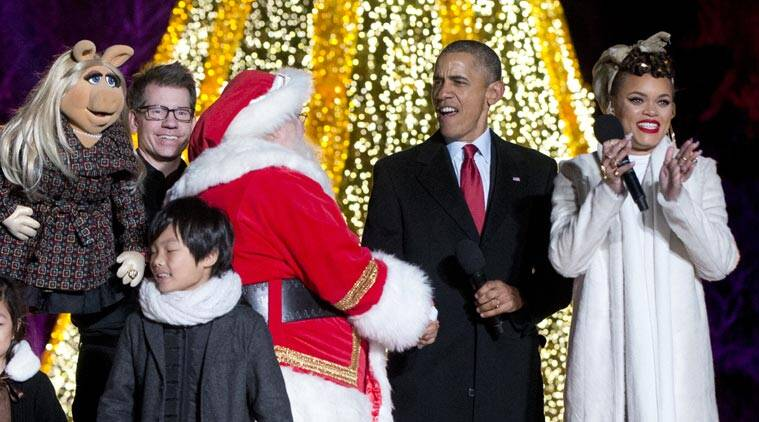 Barack obama, obama, san bernardino, california, christmas, usa national christmas tree, usa christmas tree, christmas in america, christmas in usa, world news, news