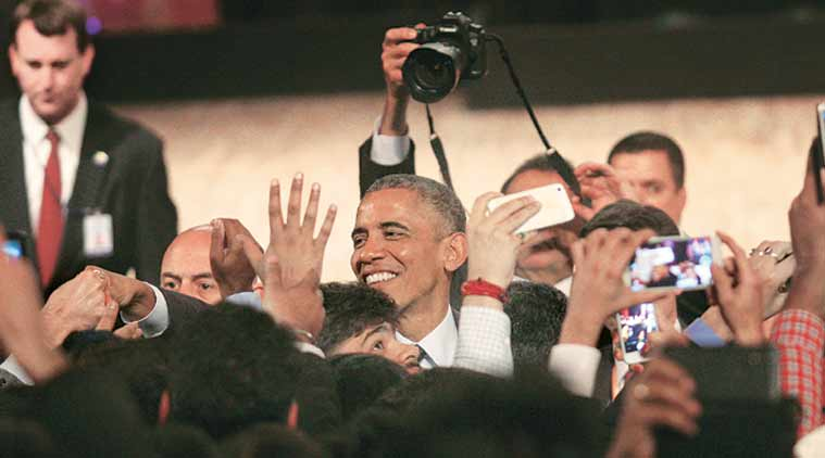 The Big Visit: US President Barack Obama interacts with the audience after a speech at Siri Fort in New Delhi in January. (Express Photo by Renuka Puri)