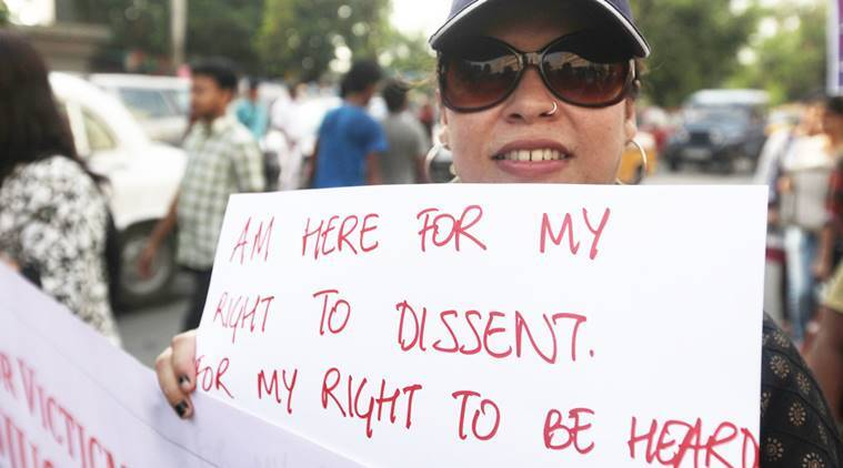 Suzette Jordan ( wearing a cap), a Park Street rape victim ,takes part in a rally taken out to protest against rape and atrocities on women in West Bengal in Kolkata. Express Photo by Subham Dutta.