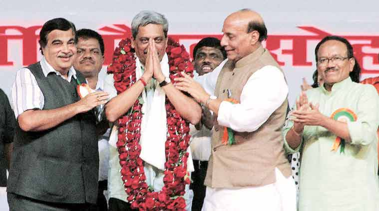 Defence Minister Manohar Parrikar with BJP leaders Nitin Gadkari, Rajnath Singh and Laxmikant Parsekar at a ceremony to felicitate him in Panaji on Sunday.  (Source: PTI)