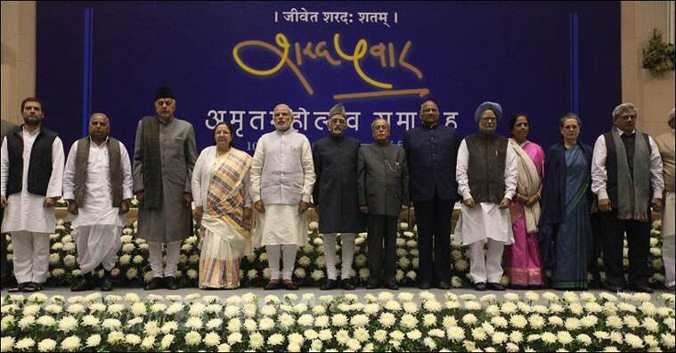 After the speeches — largely in praise of Pawar, who has completed five-and-a-half decades in public life — they all posed for a group photograph. (Source: Express photo by Tashi Tobgyal)