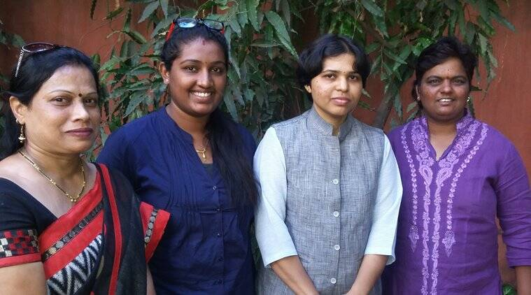 The four women from Pune who had almost climbed the platform where the Shani idol is kept. (Source: Express)