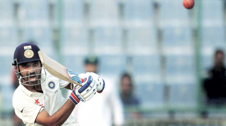 Ajinkya Rahane, unbeaten on 89, ensured that India finished at a very respectable 231/7 at the end of the first day. (Express Photo by: Ravi Kanojia)