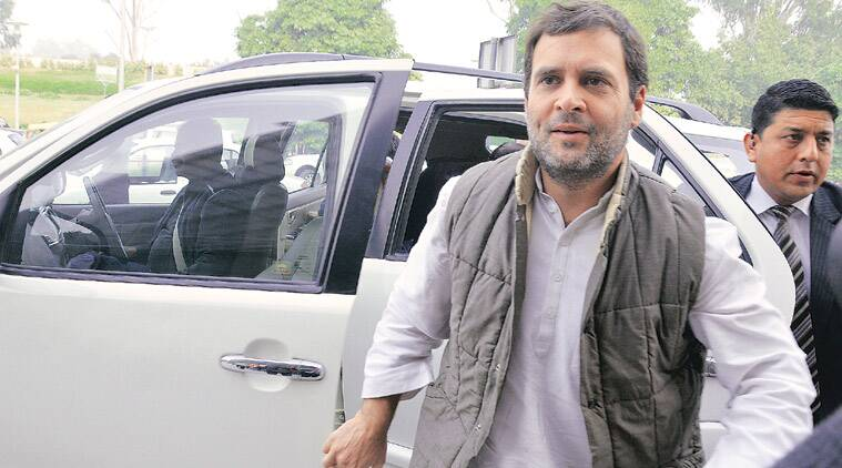 Rahul Gandhi at Lucknow Airport on Thursday. (Source: Express photo by Vishal Srivastav)