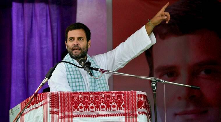 Congress Vice President Rahul Gandhi addressing a public meeting during his Sadbhabana Yatra in Barpeta district on Saturday. (PTI Photo)