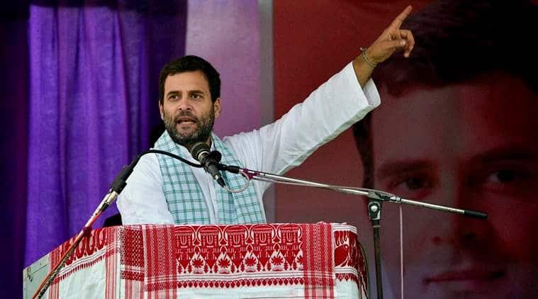 Congress Vice President Rahul Gandhi addressing a public meeting during his Sadbhabana Yatra in Barpeta district on Saturday. (PTI Photo)