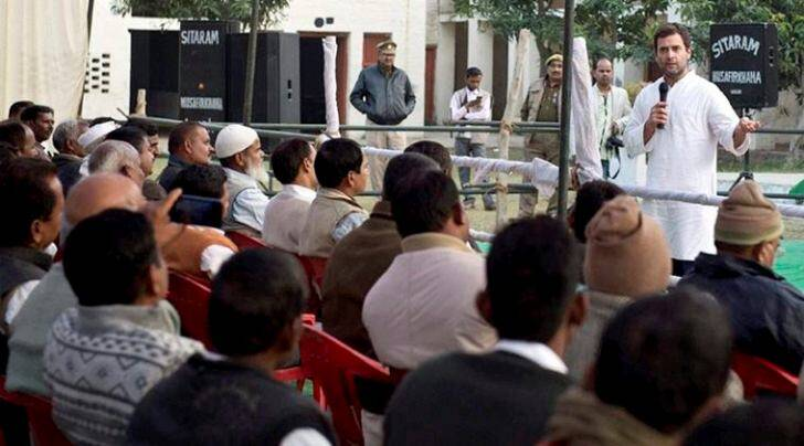 Congress Vice President Rahul Gandhi addressing a meeting during his visit to Amethi on Wednesday. (PTI Photo)