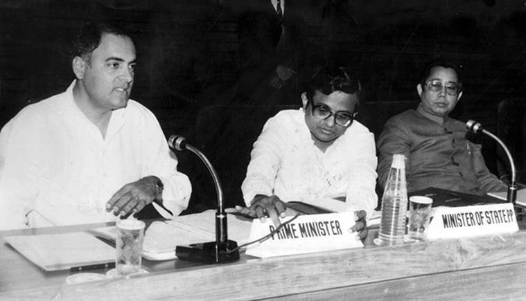 Prime Minister Rajiv Gandhi and Minister of State for Personnel, Public Grievances and Pensions P Chidambaram. Express archive photo