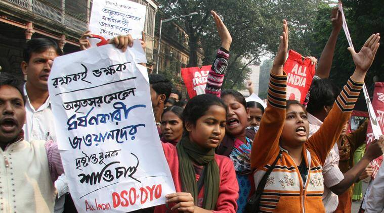 Members of AIDSO, AIDYO and AIMSS during a protest in front of Raj Bhavan, Kolkata on December 29, 2015 in connection with alleged gangrape of a teen age girl in Howrah-Amritsar mail by army jawans. (Source: Express photo by Partha Paul)