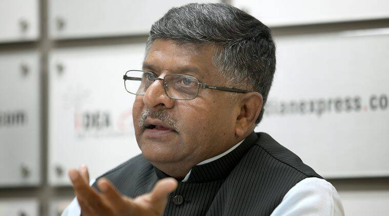 Ravi Shankar Prasad, Minister of telecom at the Indian Express idea exchange in Noida on August 14th 2015. Express photo by Ravi Kanojia.