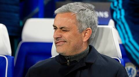 FILE - In this Wednesday, Dec. 9, 2015 file photo, Chelsea manager Jose Mourinho winks while waiting for the start of the Champions League group G soccer match between Chelsea and FC Porto at Stamford Bridge stadium in London. Mourinho has left Chelsea with the club languishing one point above the relegation zone just seven months after winning the Premier League title, it was reported on Thursday, Dec. 17, 2015. (AP Photo/Alastair Grant, File)