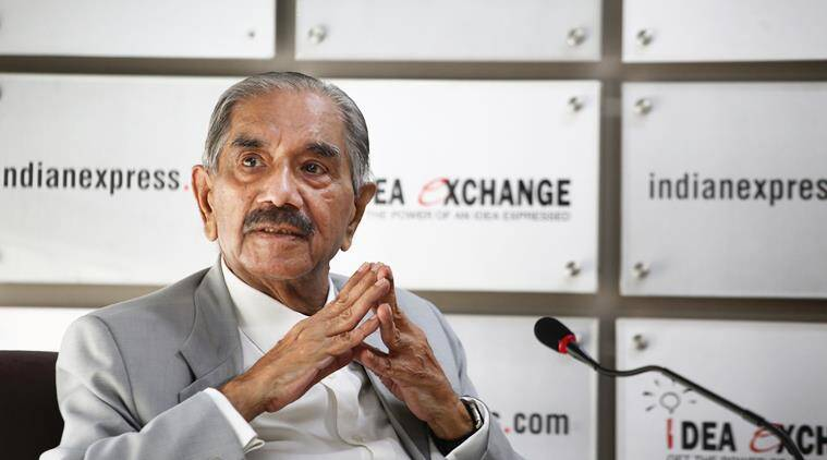 Senior Congress leader and former personal secretary and confidante to Indian Prime Minister Indira Gandhi, RK Dhawan during the Idea Exchange. Express photo by Oinam Anand. 26 June 2015