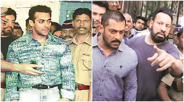 Salman Khan after the hit-and-run case in 2002 and the actor after his acquittal Wednesday. (Source: Express)