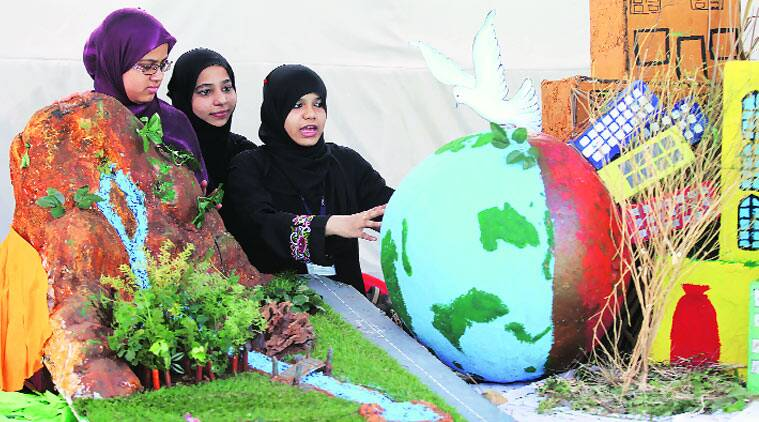Models of different types of forests across the world were recreated by 400 students and teachers of SIES as part of their three-day exhibition Vana Mahotsavam. (Source: Express photo by Prashant Nadkar)