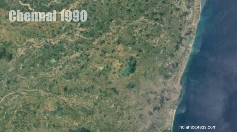 Video See How Green Madras Became Brown Chennai The Indian Express - Google india satellite maps