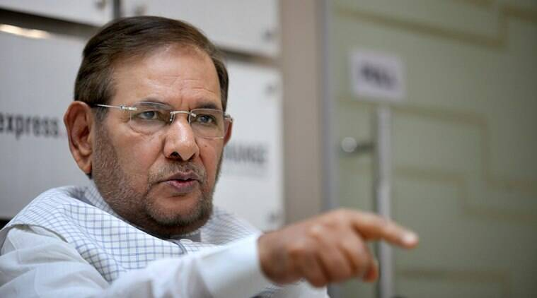 Sharad Yadav at the Indian Express idea exchange in New Delhi on April 24th 2015. Express photo by Ravi Kanojia.
