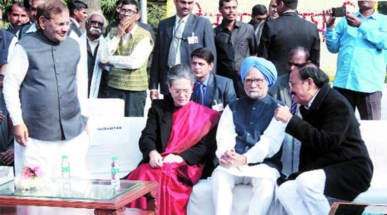 Sharad Yadav, Sonia Gandhi, Manmohan Singh  and Venkaiah Naidu at the book release in New Delhi on Monday. (Express Photo by: Prem Nath Pandey)