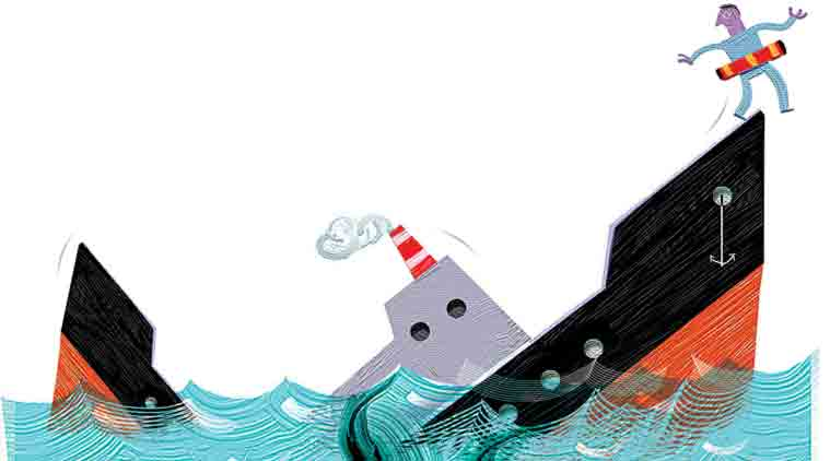 The big concern, apart from the safety of the crew, was the possibility of oil pollution if efforts were not made to plug the water ingress into the vessel.(Illustration: C R Sasikumar)