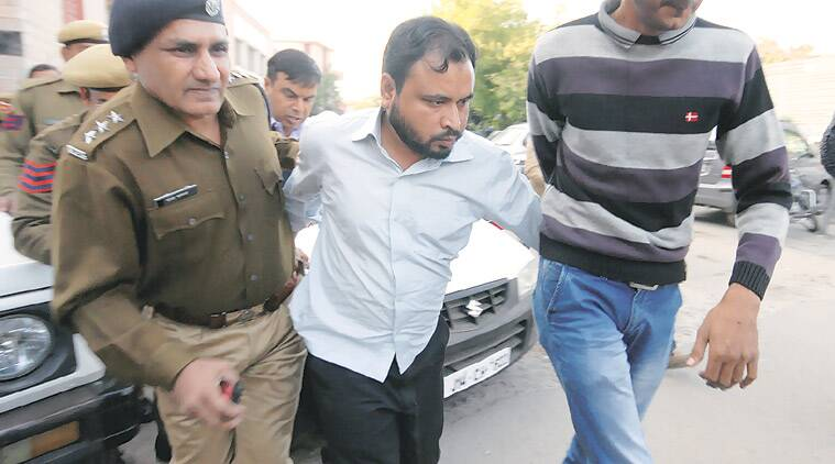 Mohammad Sirajuddin is taken to a court in Jaipur on Friday. (Source: Express photo by  Rohit Jain Paras)