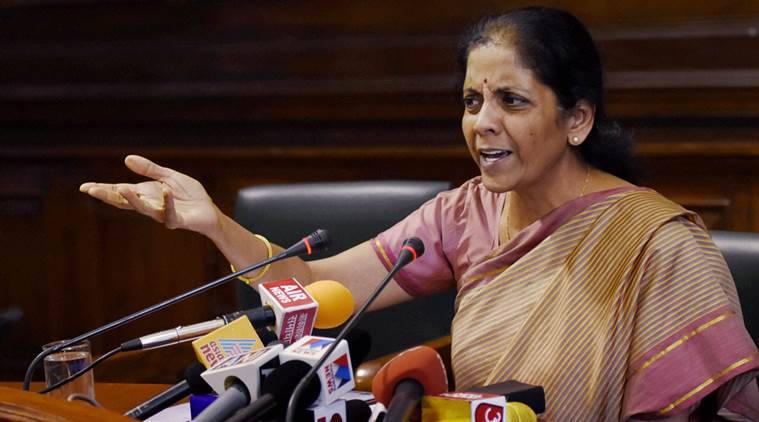 New Delhi: Minister of State for Commerce & Industry (Independent Charge) Nirmala Sitharaman addressing a press conference at Parliament in New Delhi on Thursday during the winter session. PTI Photo by Subhav Shukla (PTI12_3_2015_000227A)