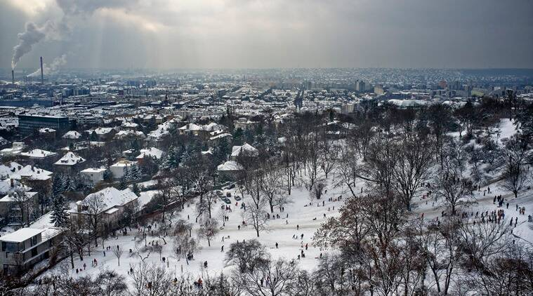 'You Want to see snow?': A white field in Budapest. (Source: Thinkstock)