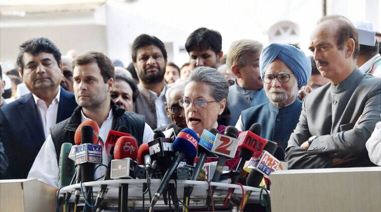 Congress President Sonia Gandhi with party Vice President Rahul Gandhi, former prime minister Manmohan Singh and Ghulam Nabi Azad addressing the media at the party office in New Delhi on Saturday after appearing in Patiala House Courts. (PTI Photo)