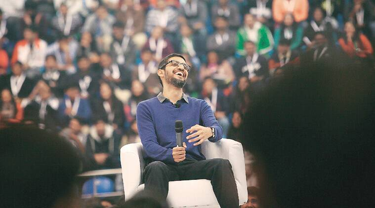 Google CEO Sundar Pichai interacts with students at Shri Ram College of Commerce Thursday. (Source: Express photo by Praveen Khanna)