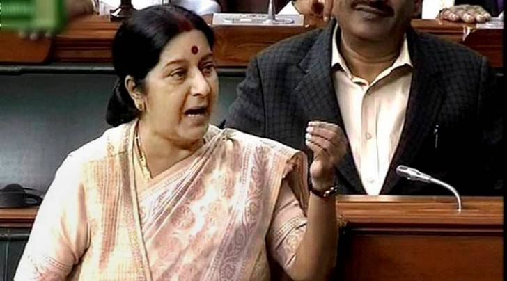 New Delhi: External Affairs Minister Sushma Swaraj speaks in the Lok Sabha in New Delhi on Monday. PTI Photo / TV GRAB (PTI12_14_2015_000064A)