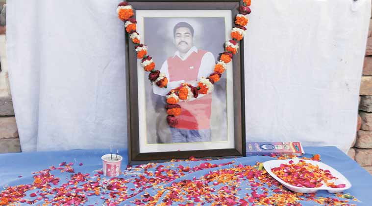Bheem Tank, who was murdered at the farmhouse of a SAD leader on December 11, at her house in Sant Nagar in Abohar on Monday. (Express Photo by Gurmeet Singh)