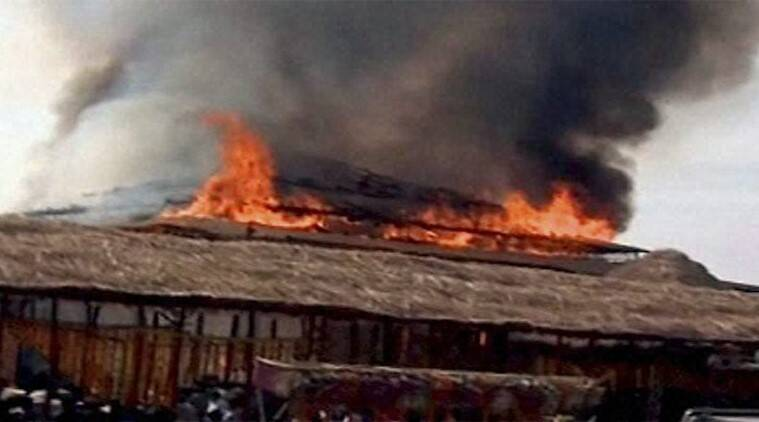 Smoke billowing out after a fire broke out at the pandal of 'Ayutha Chnadi Maha Yagnam' in Medak on Sunday.(Source: PTI)