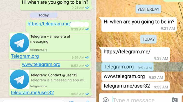 WhatsApp blocking links to rival app Telegram on Android phones