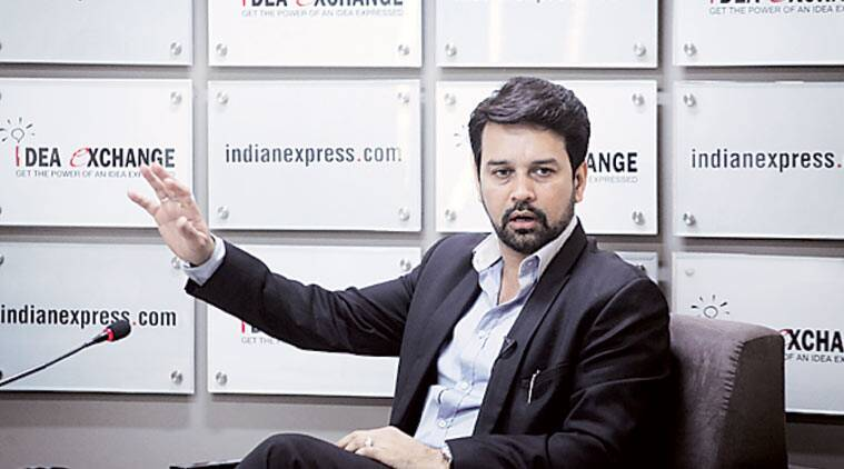 Anurag Thakur, MP and BCCI secretary, at Idea Exchange Thursday. (Express Photo by: Oinam Anand)