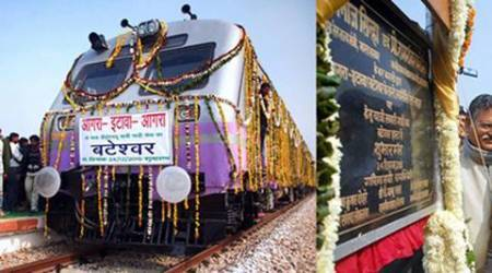 Agra: **COMBO** Union Minister of State for Railways Manoj Sinha launches a new train (L) from Bateshar in Bah tehsil of Agra district, ancestral village of Vajpayee, to Etawah on Thursday to commemorate former prime minister Atal Bihari Vajpayee's birthday. PTI Photo  (PTI12_24_2015_000235B)