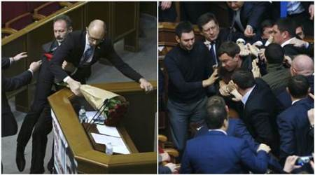 ukraine, ukraine parliament, ukraine parliament fight, ukraine pm, ukraine prime minister, ukraine pm dragged, ukraine news, world news