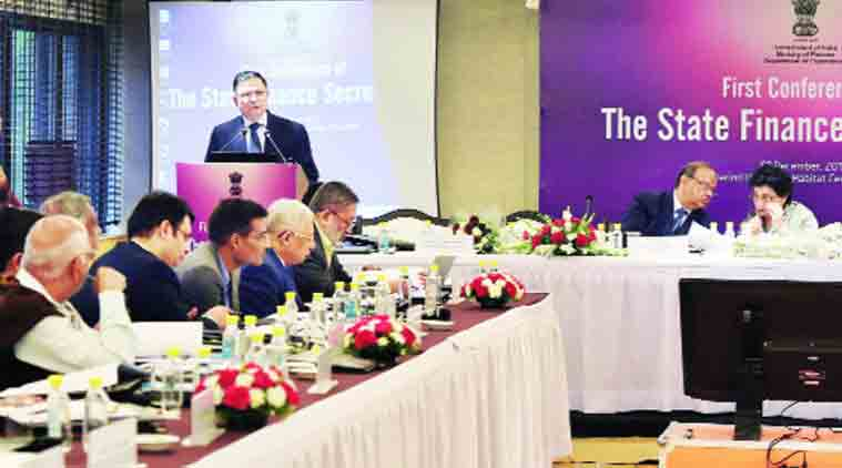 Finance Secretary Ratan P Watal addresses the first conference of the state finance secretaries, in New Delhi on Tuesday.   (Source: PTI)