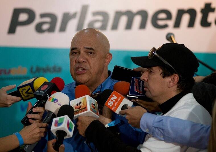 Jesus Torrealba the general secretary of the opposition alliance speaks with the media during a news conference in Caracas, Venezuela. AP Photo