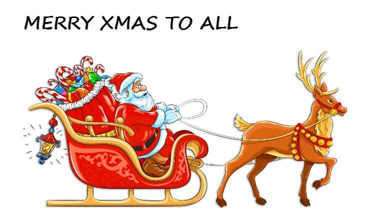 Santa sends out a mathematical message as he sets off. (Source: free clip art from yopriceville.com)