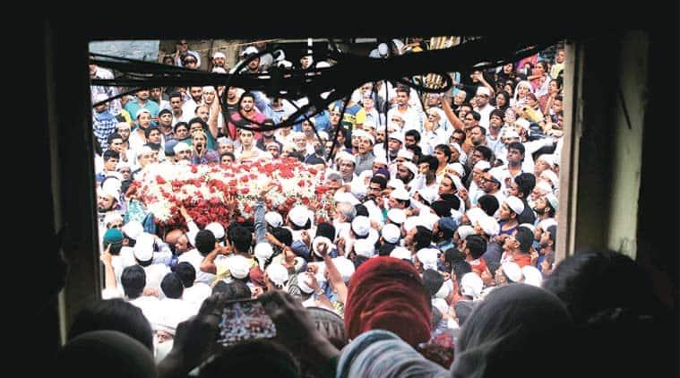Mourners gather in Mumbai around the body of Yakub Memon, executed in 2015. (Express Photo by Pradip Das)