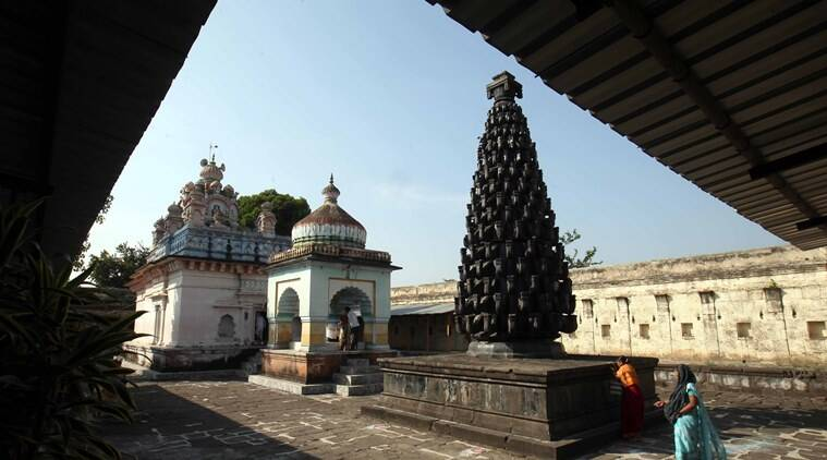 Built on Kashibai's suggestion, Someshwar Temple stands tall. Its specialty is a tall structure called the Deepmala, upon which 256 diyas can be placed at a time. (Express photo by Arul Horizon)