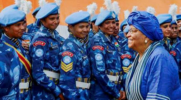 liberia, indian women peacekeepers, liberia president, Ellen Johnson Sirleaf, woman peacekeepers in liberia, liberia, UN woman  peacekeeping force, indian formed police unit, FPU, liberia news, world news
