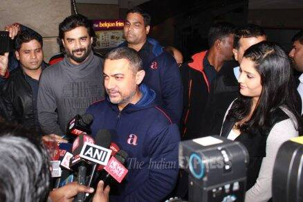 Aamir Khan, Madhavan, Ritika Singh at Saala Khadoos screening in Delhi