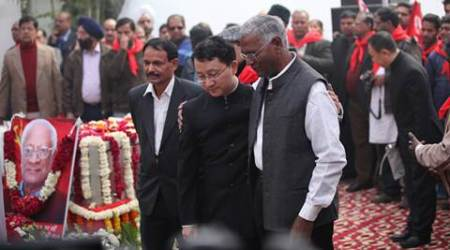 Members from the Chinese Consulate  and  CPI Leader D Raja at the last farewell of senior CPI leader AB Bardhan who passed away in the capital New Delhi on saturday. Express Photo by Tashi Tobgyal New Delhi 041216