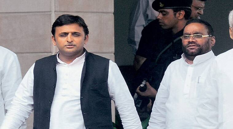 Akhilesh with Swami Prasad Maurya, Leader of Opposition in the UP Assembly. (Express Archive)
